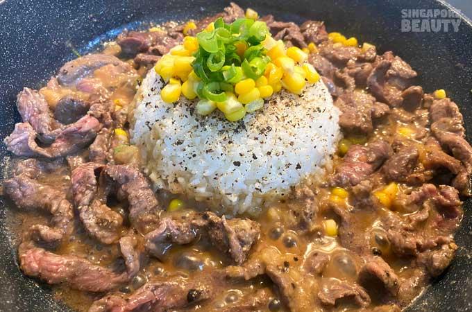 black pepper beef lunch
