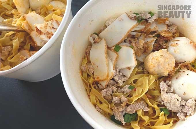 fishball noodles with pork lard