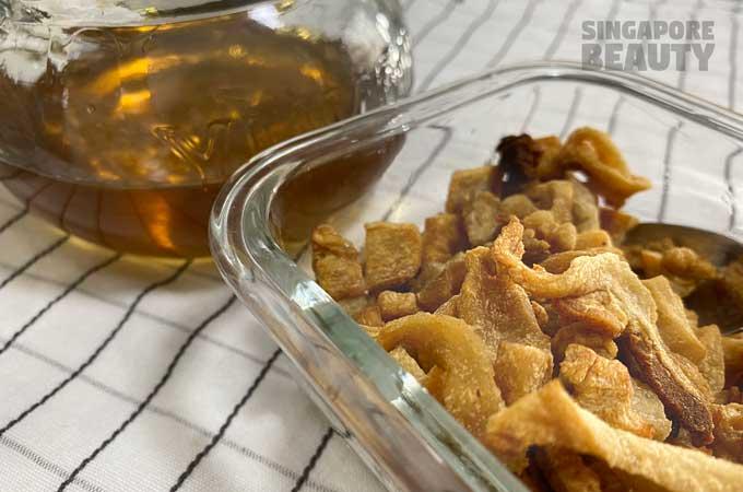 homemade pork crackling and lard oil