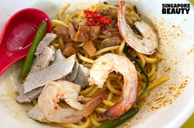 live prawn noodle