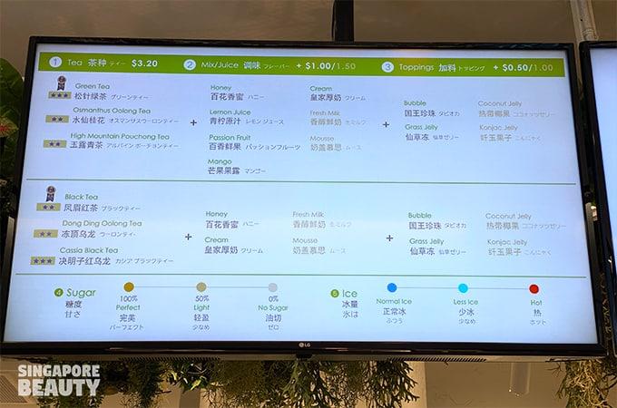 ChiCha San Chen menu bbt