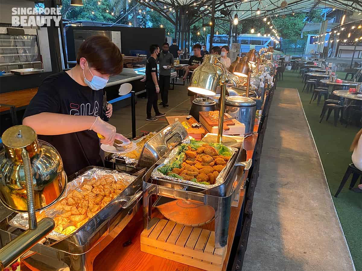 international buffet line