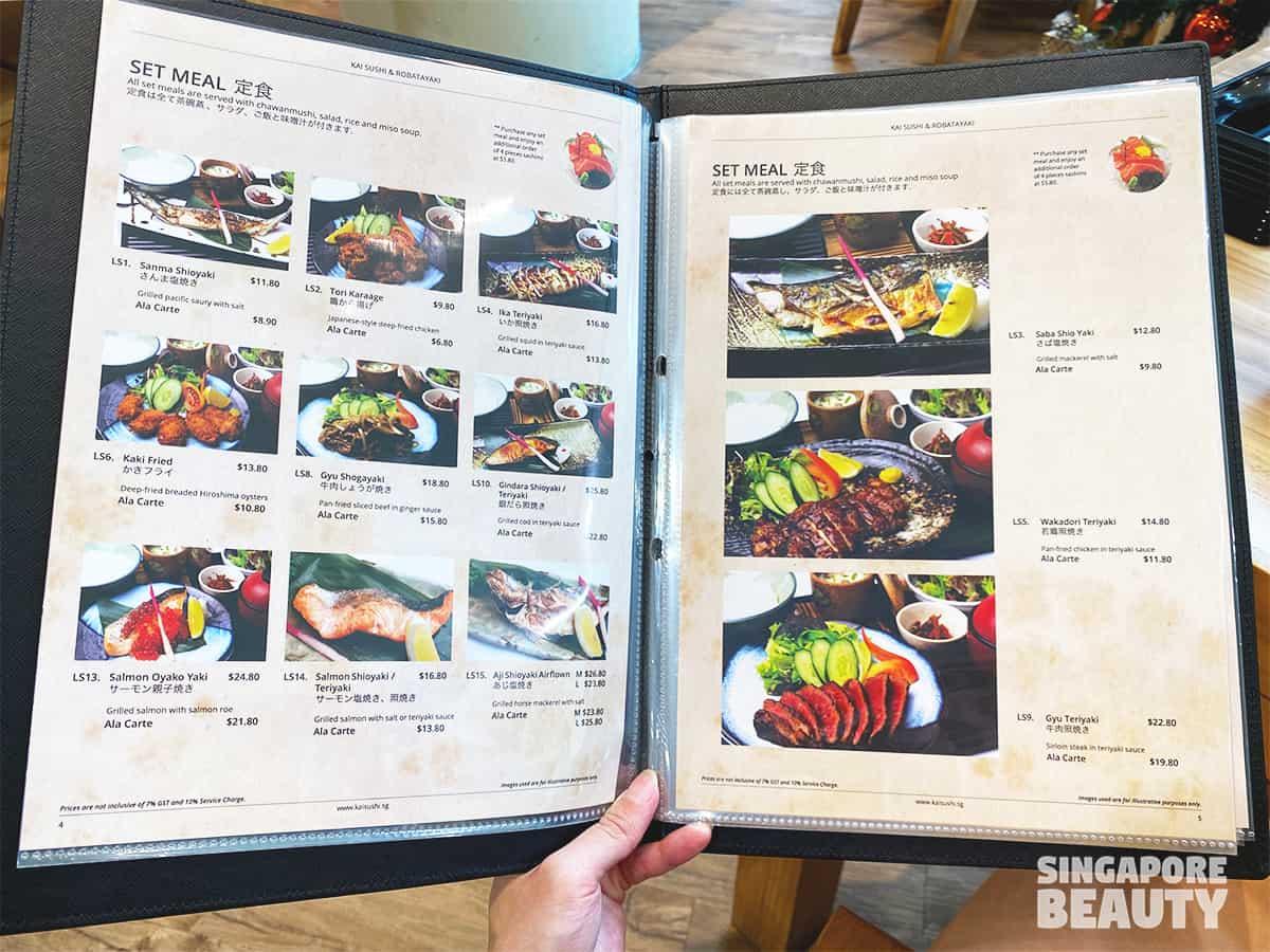 menu of Kai Sushi & Robatayaki