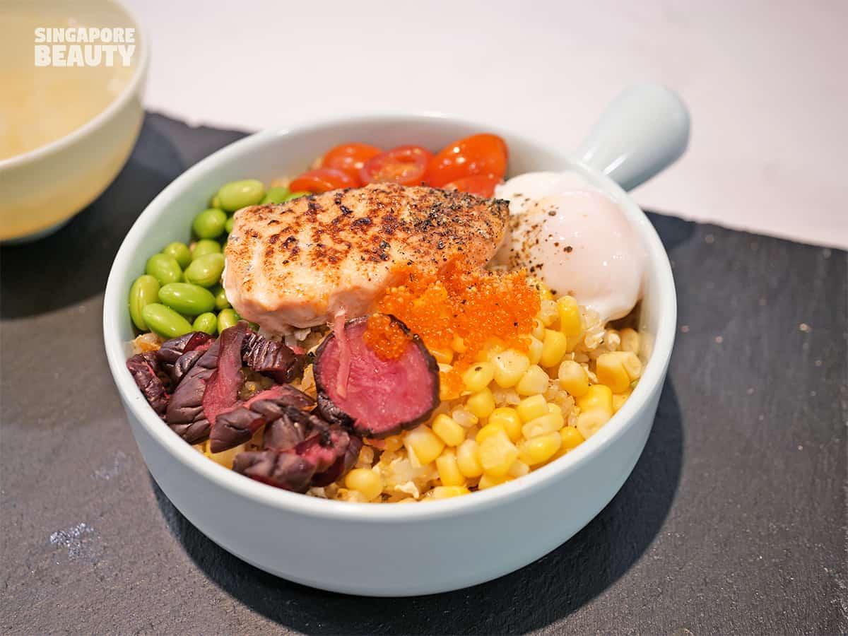 bowl and bowl mentaiko salmon fried rice