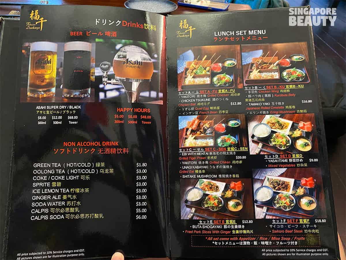 Fukusen izakaya japanese restaurant lunch menu