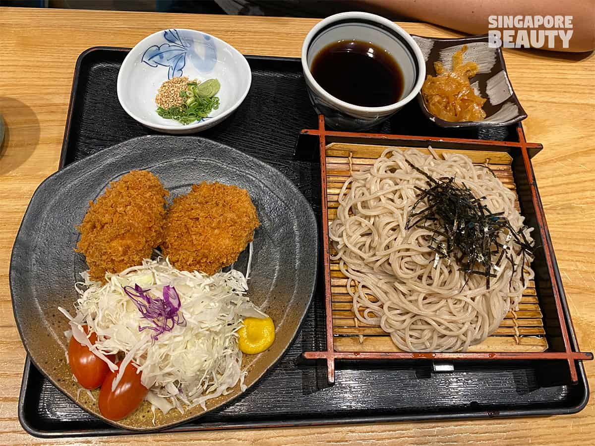 deep fried pork fillet cold soba