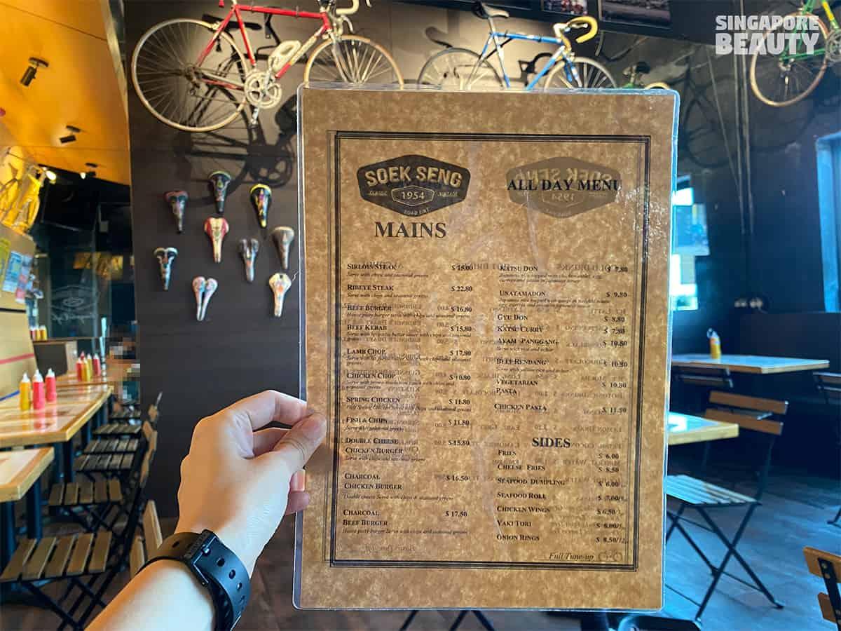soek seng 1954 bicycle cafe menu